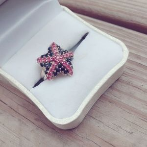 925 Sterling Silver Starfish Ring Ruby & Sapphires